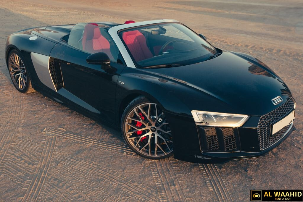 Audi R8 V10 Spyder 2018 luxury car rental dubai alwaahid rent a car